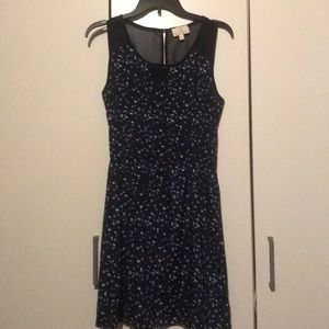 navy blue pattern dress